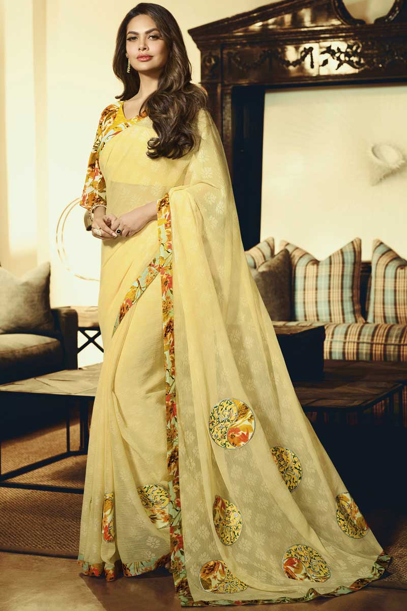Eid Special Esha Gupta Chiffon Embroidered Yellow Sangeet Wear Saree