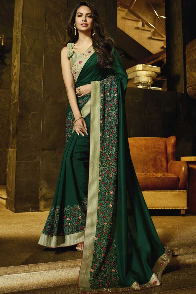 Eid Special Esha Gupta Party Wear Embroidered Dark Green Saree In Georgette