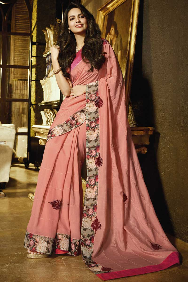 Eid Special Esha Gupta Georgette Party Style Pink Saree With Embroidery Work