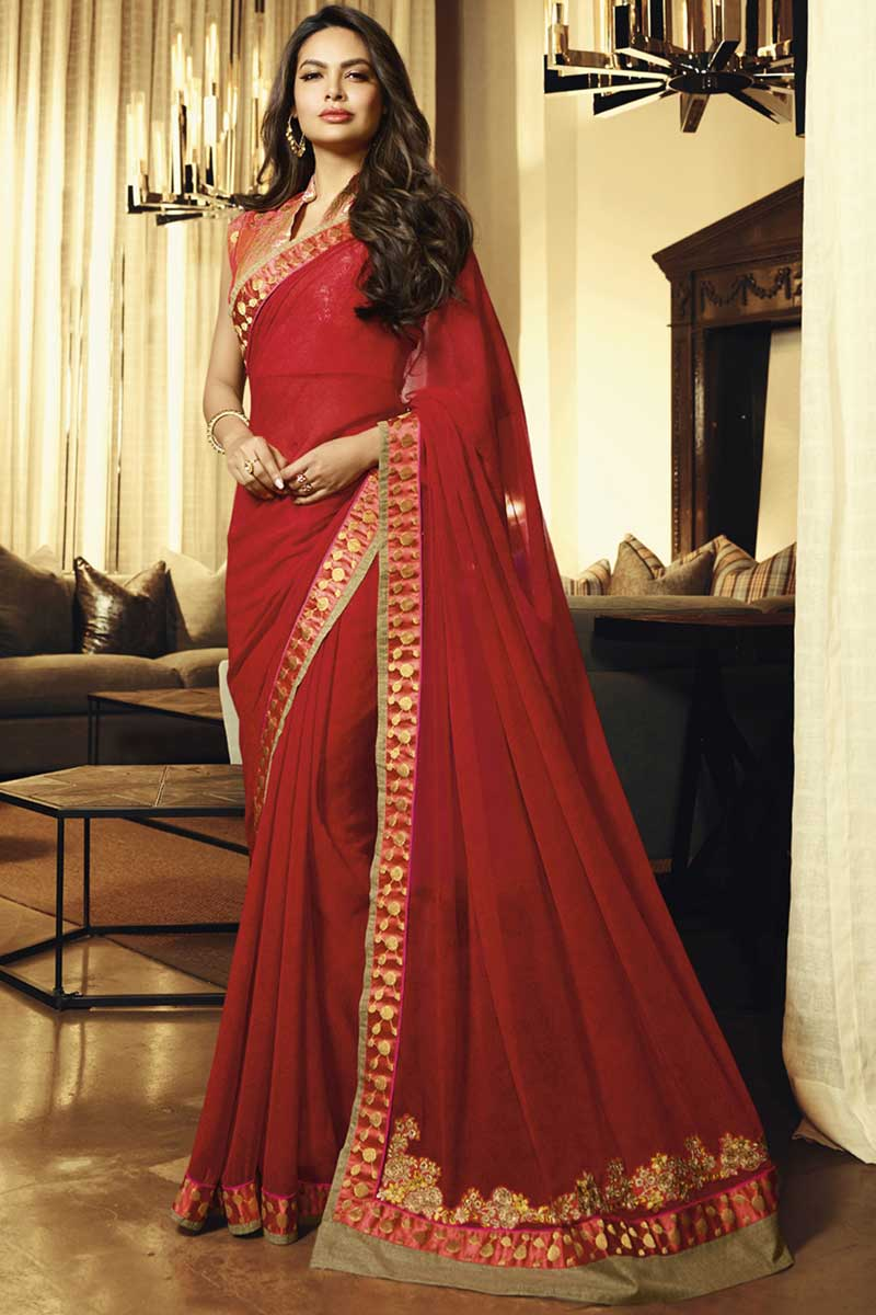 Eid Special Esha Gupta Red Embroidered Wedding Wear Saree In Georgette