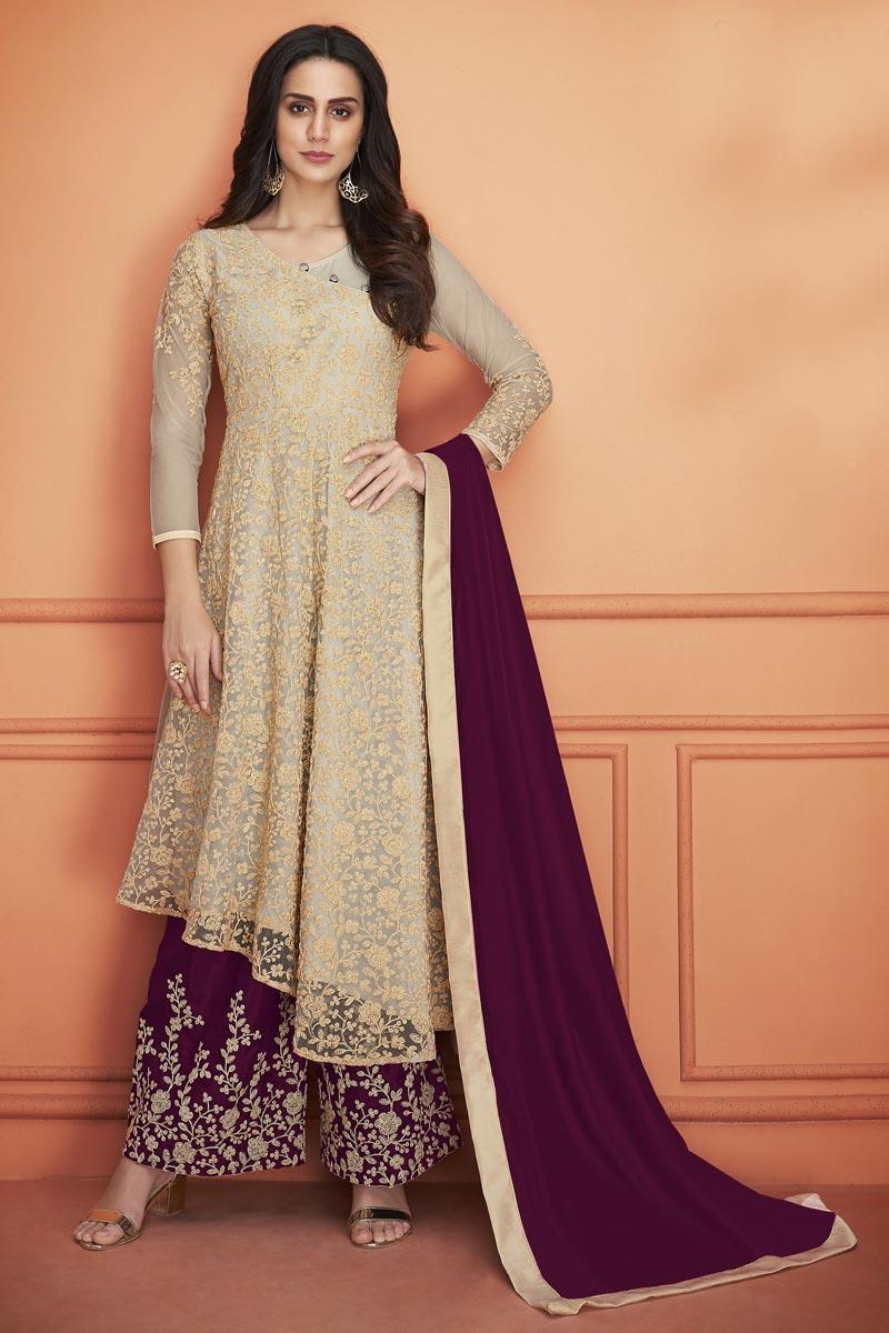 Net Fabric Traditional Wear Designer Palazzo Suit In Beige
