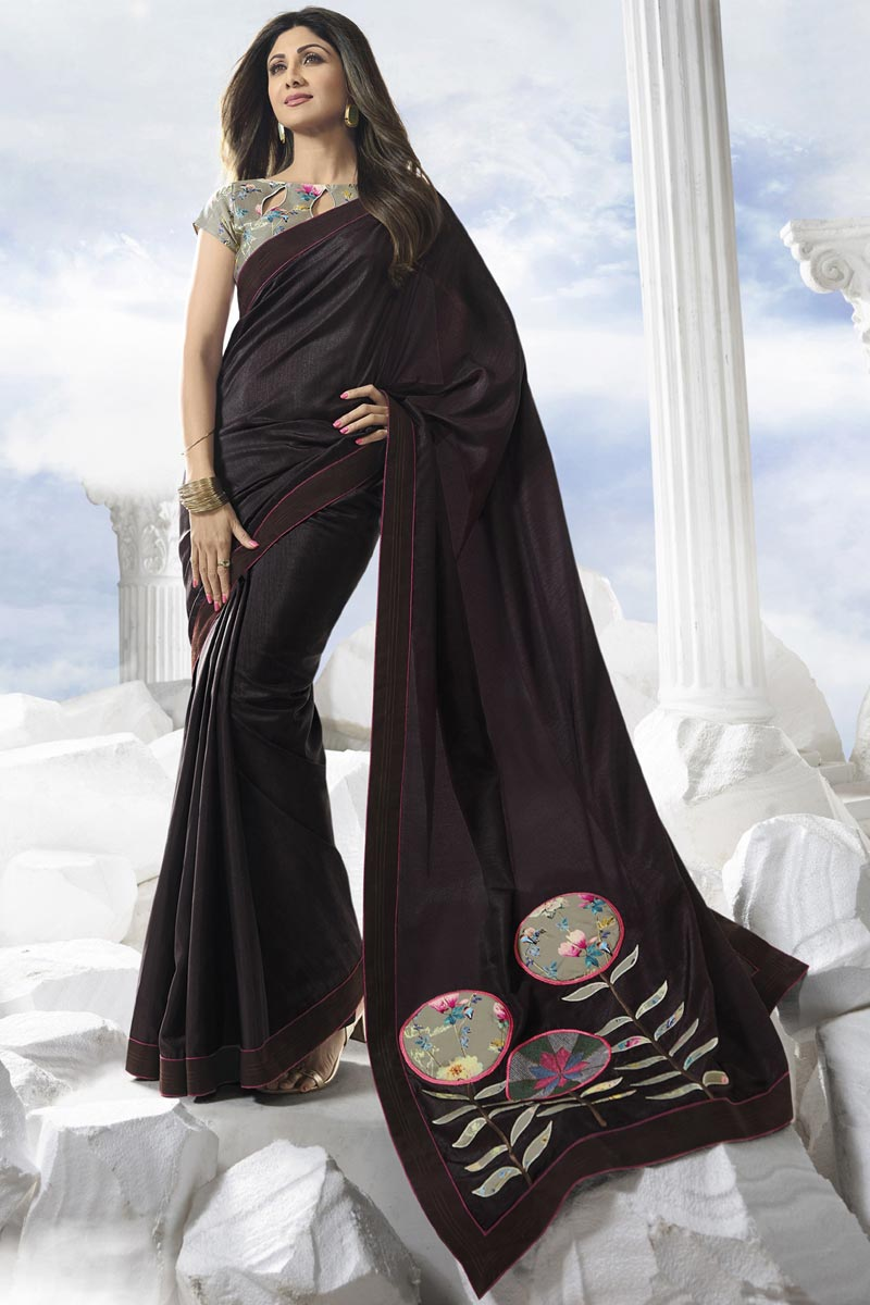 Shilpa Shetty Satin Silk Fancy Party Style Wine Color Saree