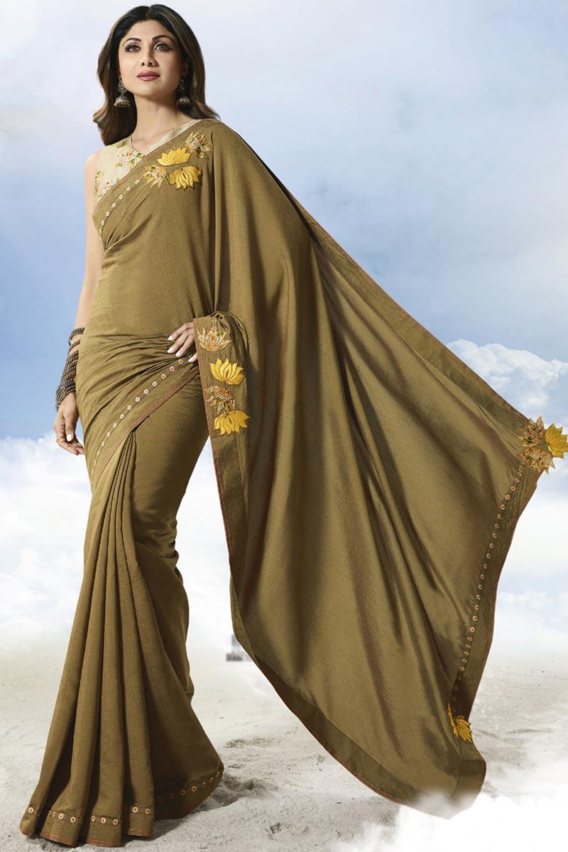 Shilpa Shetty Mehendi Green Fancy Satin Silk Party Style Saree
