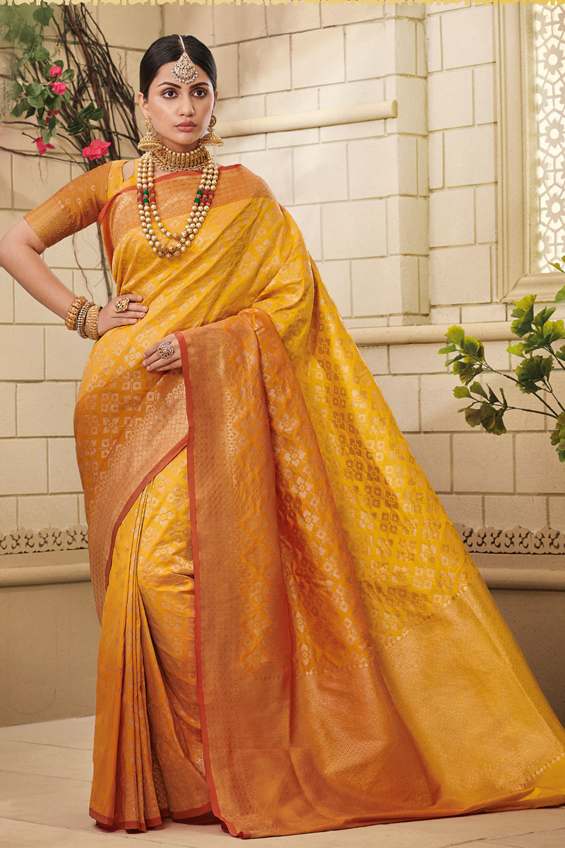 Mustard Color Designer Saree In Art Silk Fabric With Weaving Work Designs And Attractive Blouse