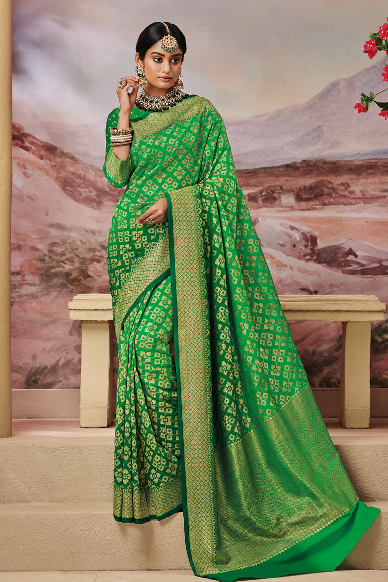 Weaving Work Designs On Green Color Function Wear Saree In Art Silk Fabric With Classic Blouse