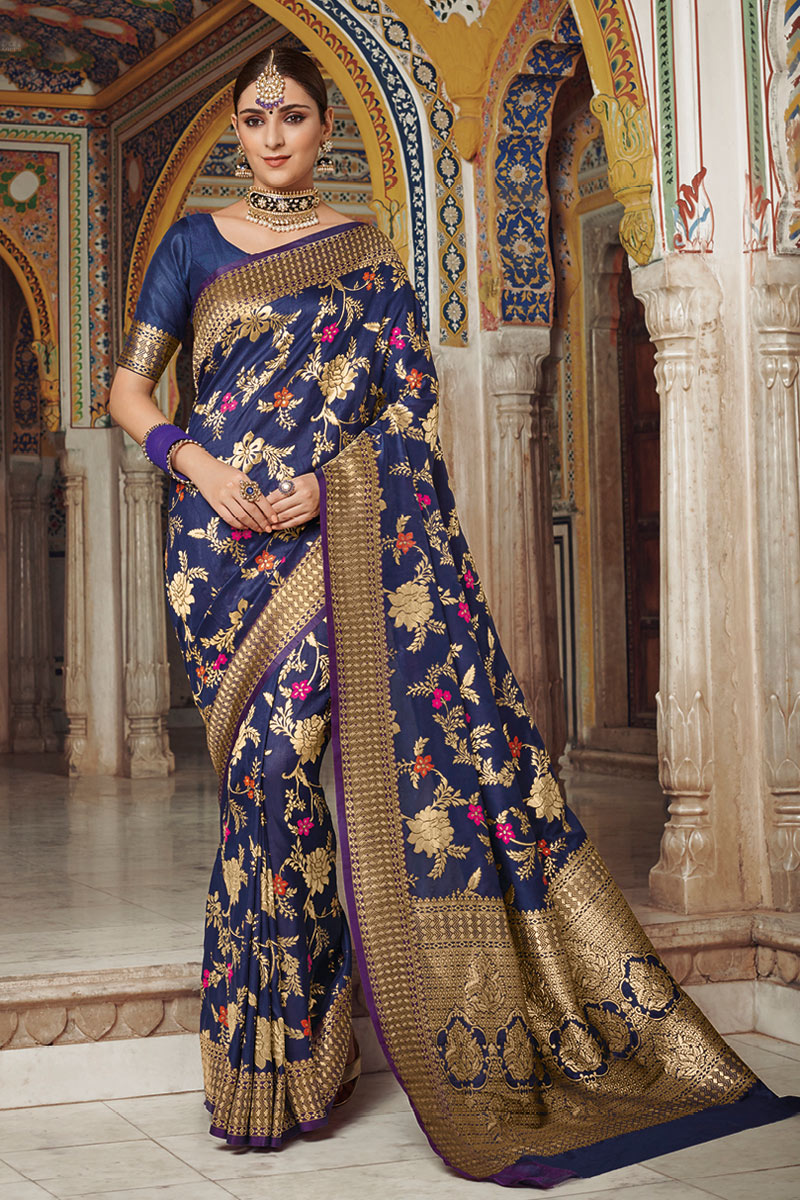 Weaving Work On Art Silk Navy Blue Function Wear Saree With Enigmatic Blouse