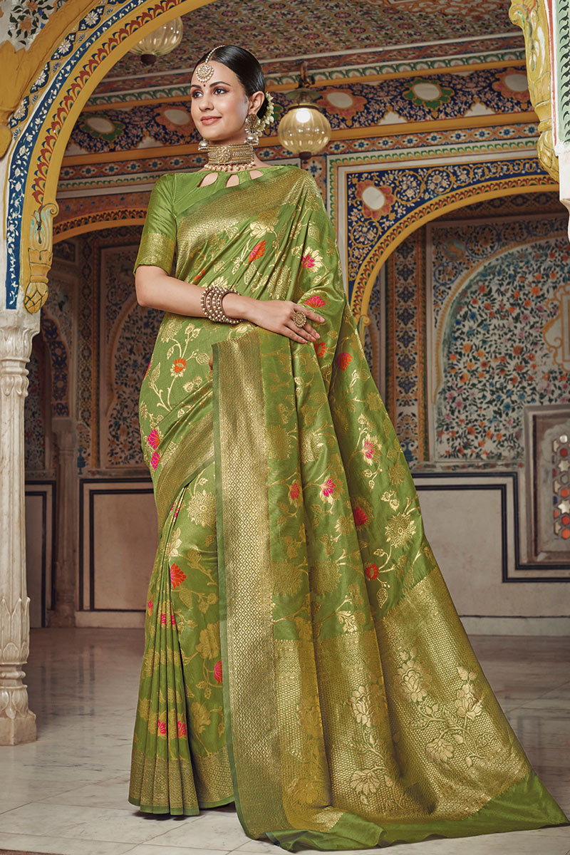 Weaving Work On Green Art Silk Designer Saree With Captivating Blouse