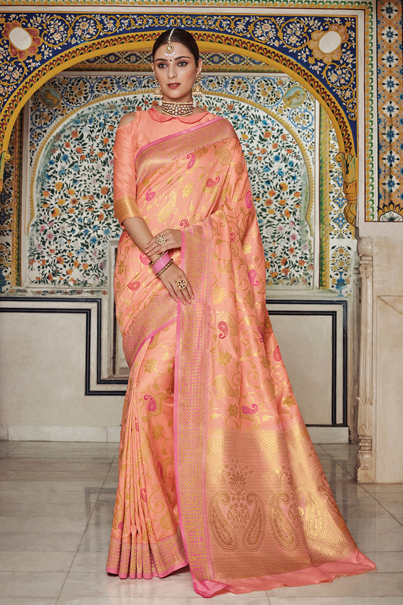 Peach Art Silk Party Wear Saree With Weaving Work Designs And Tempting Blouse