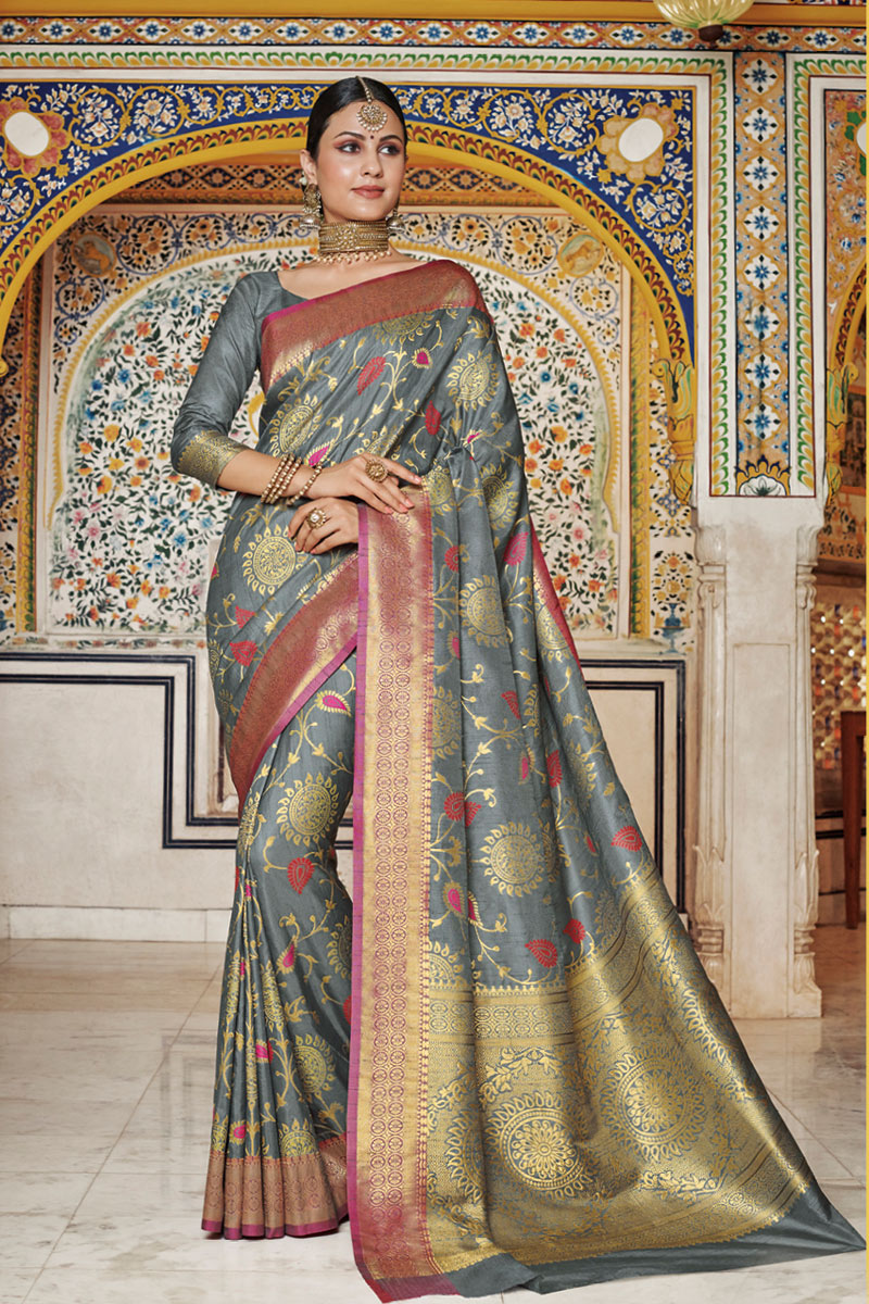 Weaving Work On Art Silk Designer Saree In Grey With Attractive Blouse