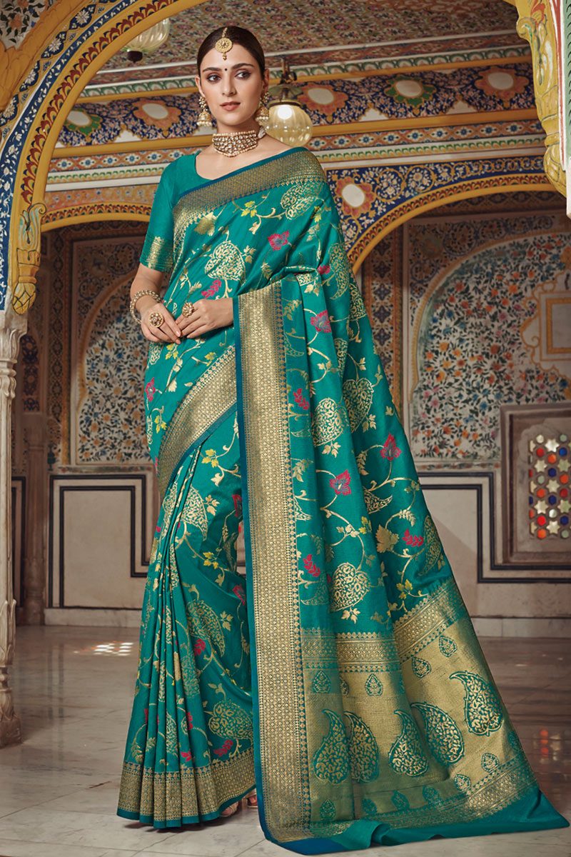 Teal Party Wear Saree In Art Silk With Weaving Work And Designer Blouse