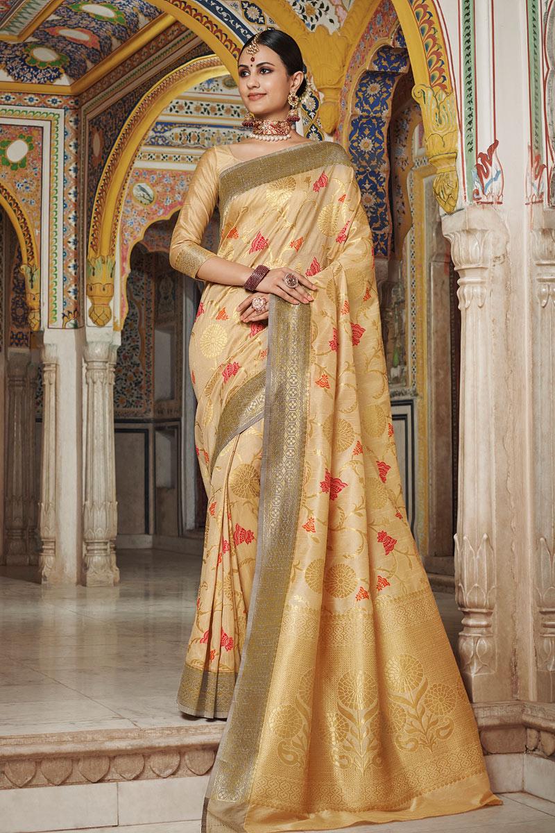 Art Silk Beige Wedding Wear Saree With Weaving Work And Beautiful Blouse