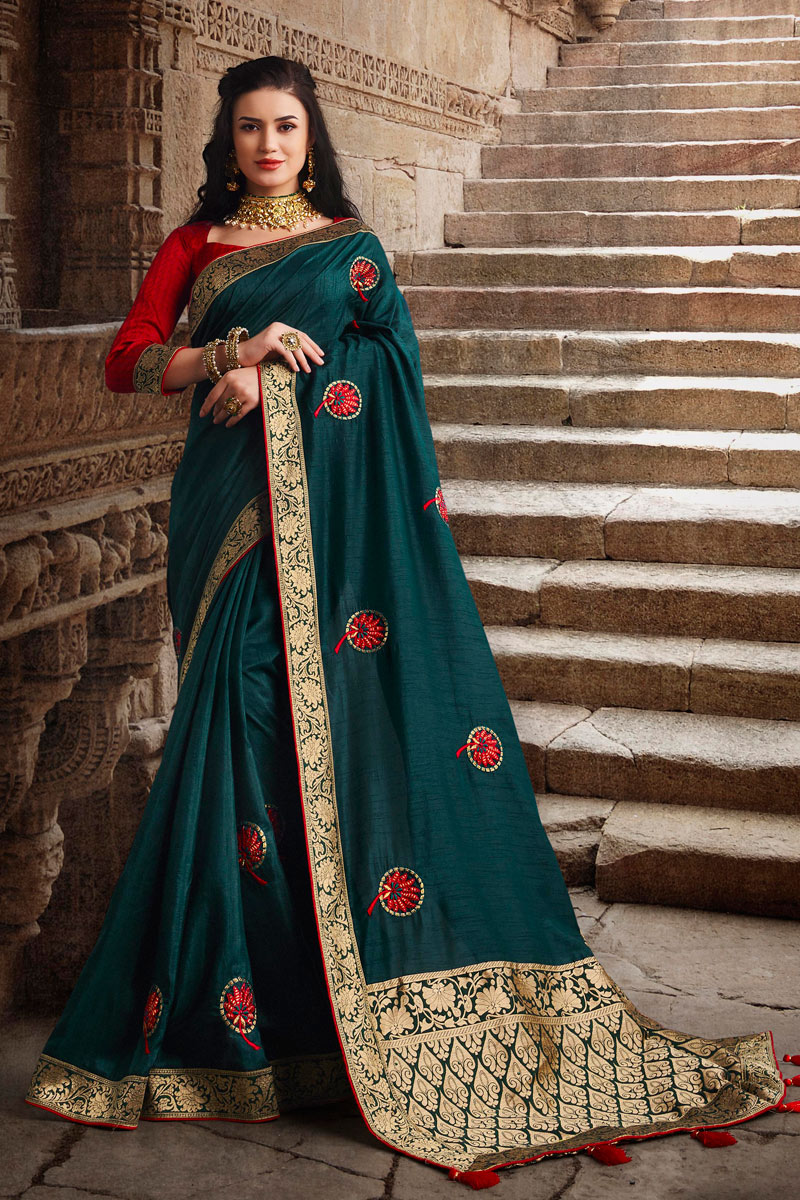 Weaving Work On Art Silk Fabric Party Wear Saree In Teal Color With Beautiful Blouse