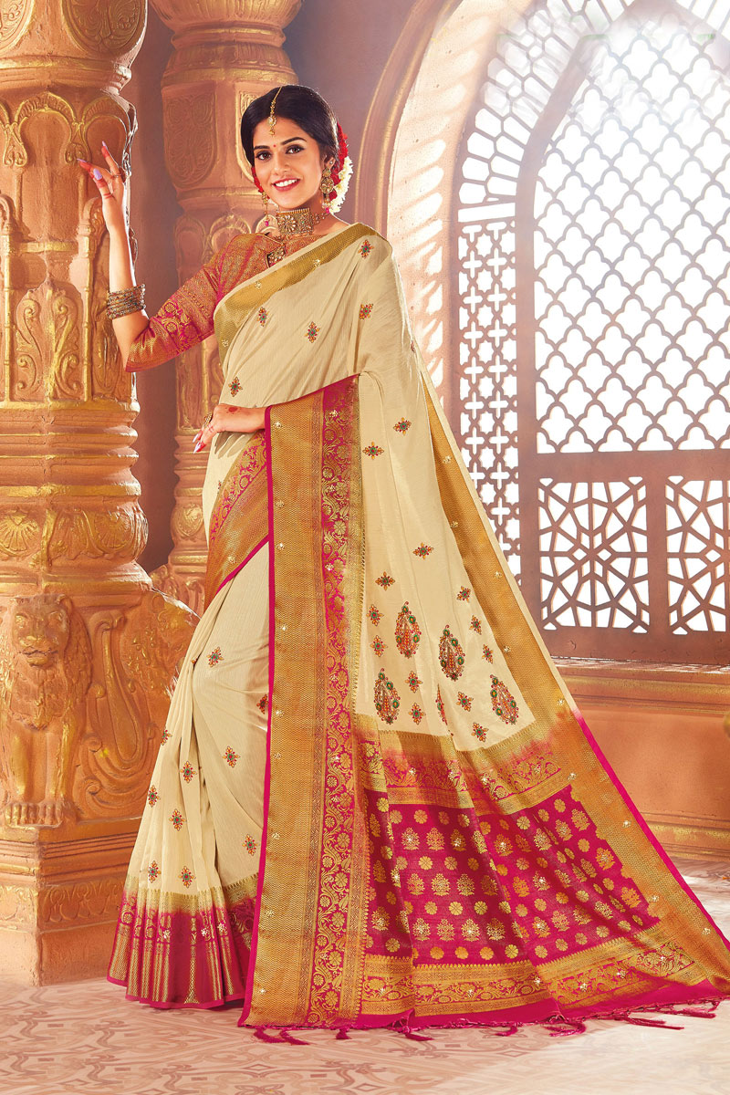 Art Silk Fabric Beige Color Festive Wear Saree With Weaving Work And Attractive Blouse