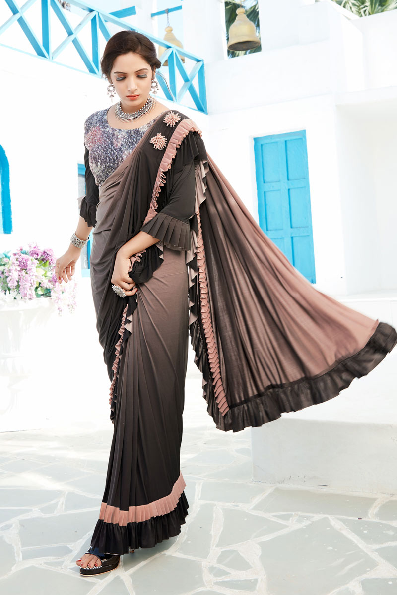 Lycra Dark Brown Color Festive Wear Ruffle Border Saree With Fancy Work And Attractive Blouse