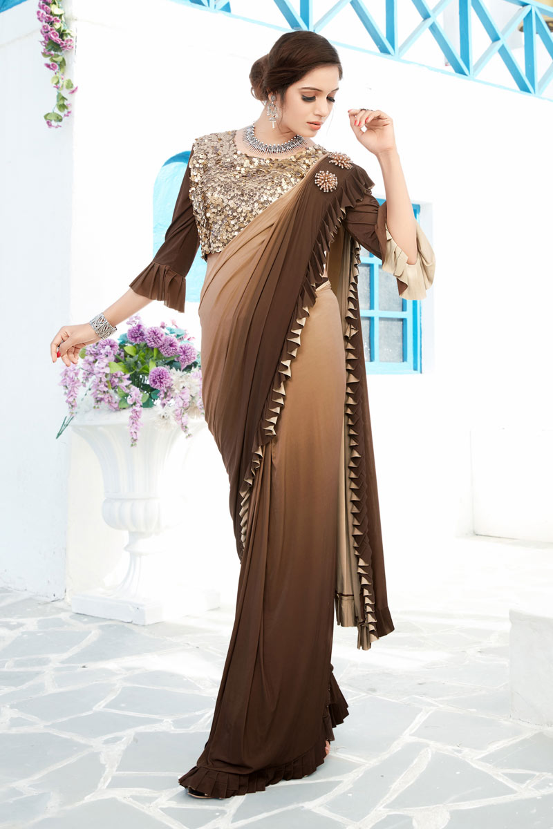Lycra Brown Color Festive Ruffle Border Saree With Fancy Work And Gorgeous Blouse
