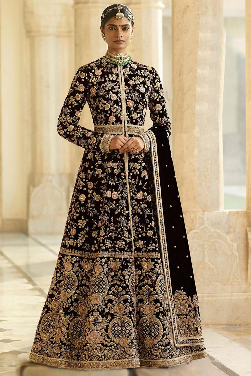 Eid Special Function Wear Long Length Purple Embroidered Anarkali Suit In Velvet Fabric