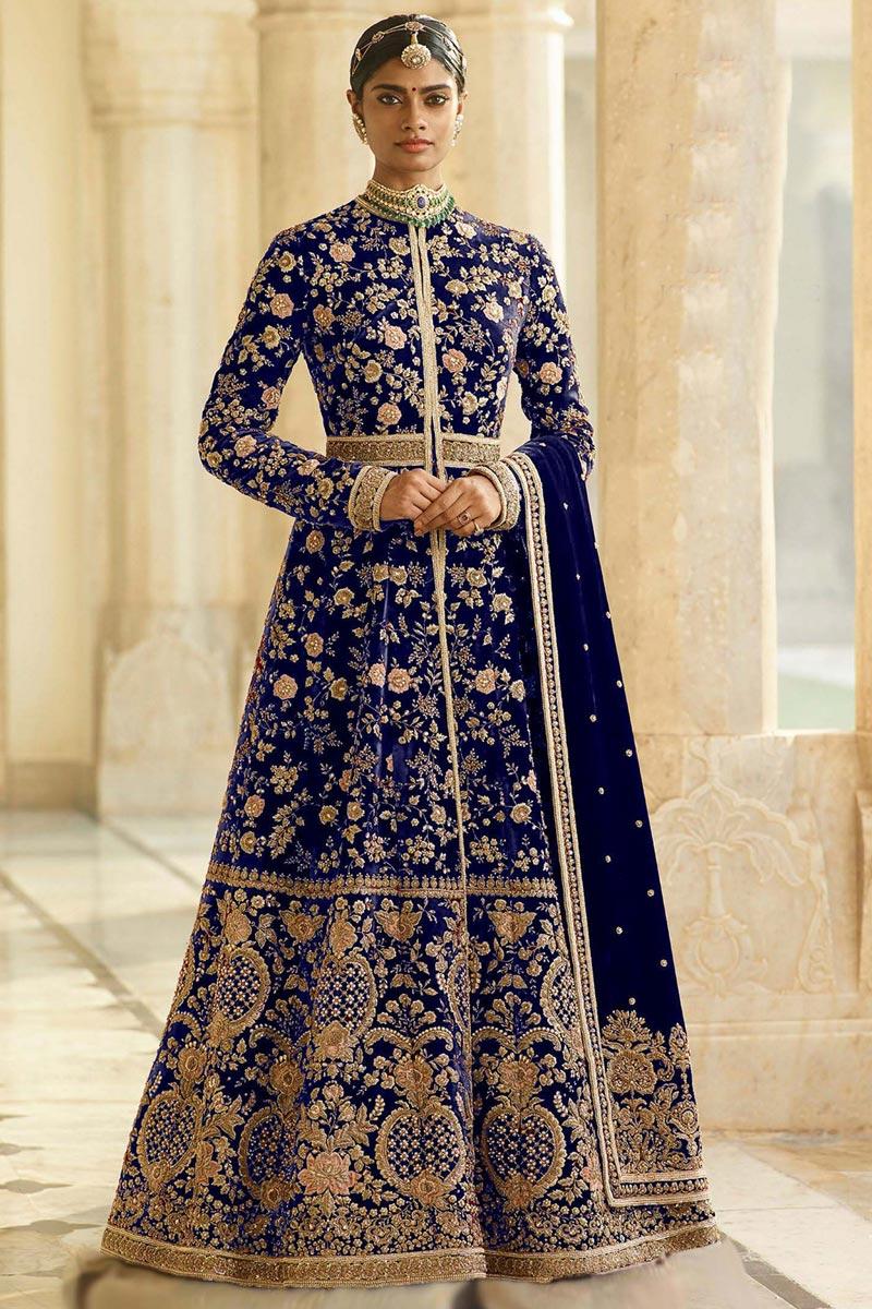 Eid Special Velvet Fabric Function Wear Black Color Embroidered Floor Length Anarkali Dress