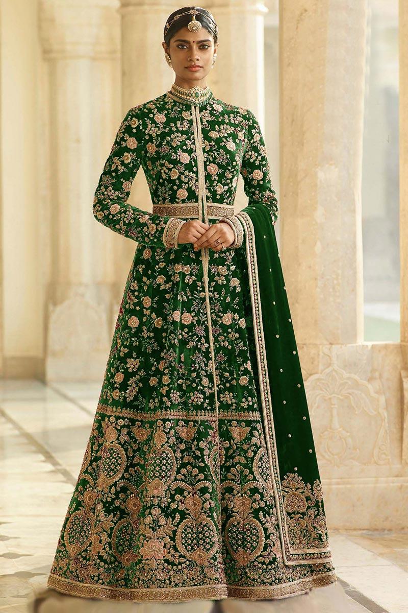 Eid Special Velvet Fabric Blue Function Wear Embroidered Floor Length Anarkali Dress