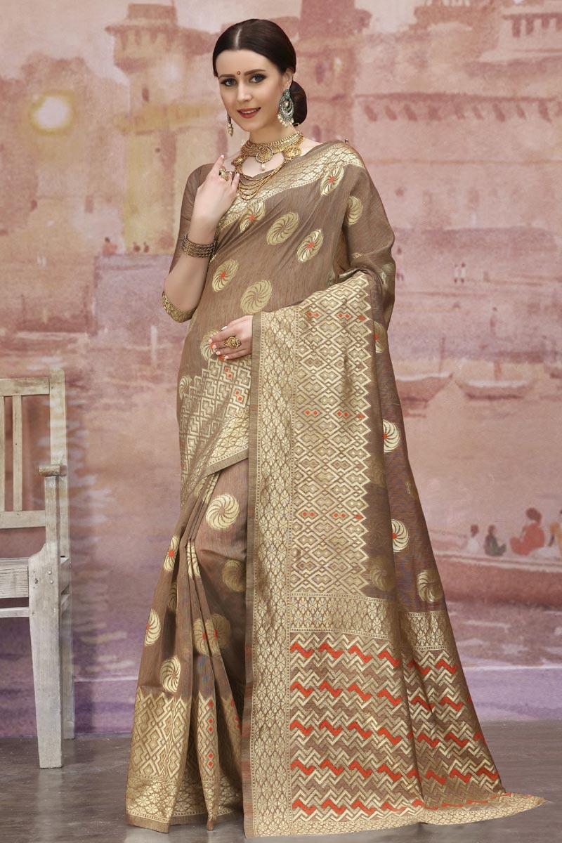 Cotton Fabric Designer Festive Wear Brown Weaving Work Saree