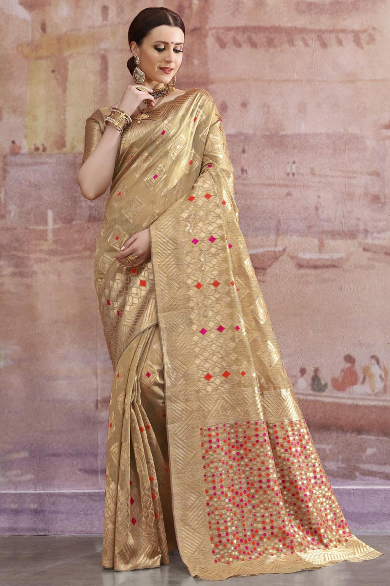 Designer Cotton Fabric Festive Wear Beige Weaving Work Saree