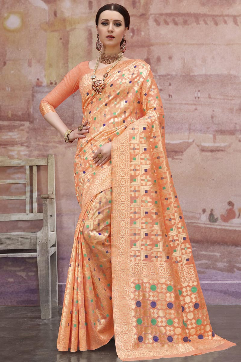 Designer Orange Cotton Fabric Festive Wear Weaving Work Saree