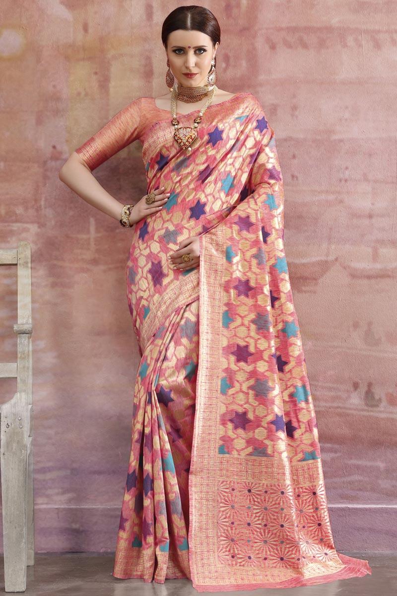 Cotton Fabric Designer Festive Wear Weaving Work Peach Saree