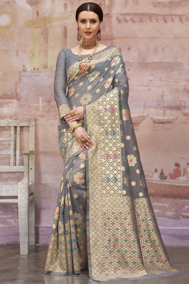 Grey Cotton Fabric Designer Festive Wear Weaving Work Saree