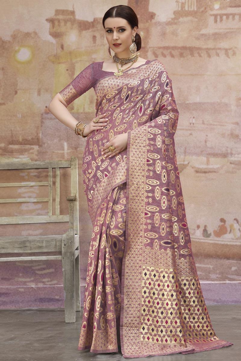 Pink Designer Festive Wear Cotton Fabric Weaving Work Saree