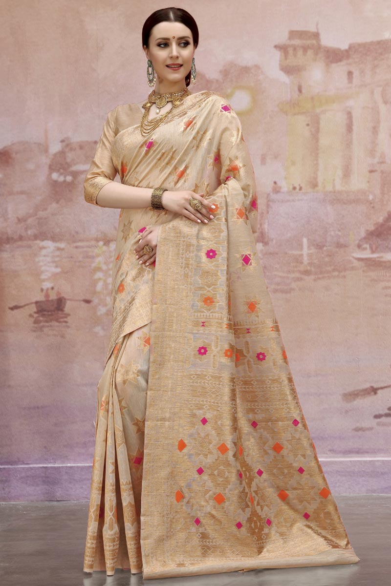 Designer Cotton Fabric Cream Festive Wear Weaving Work Saree