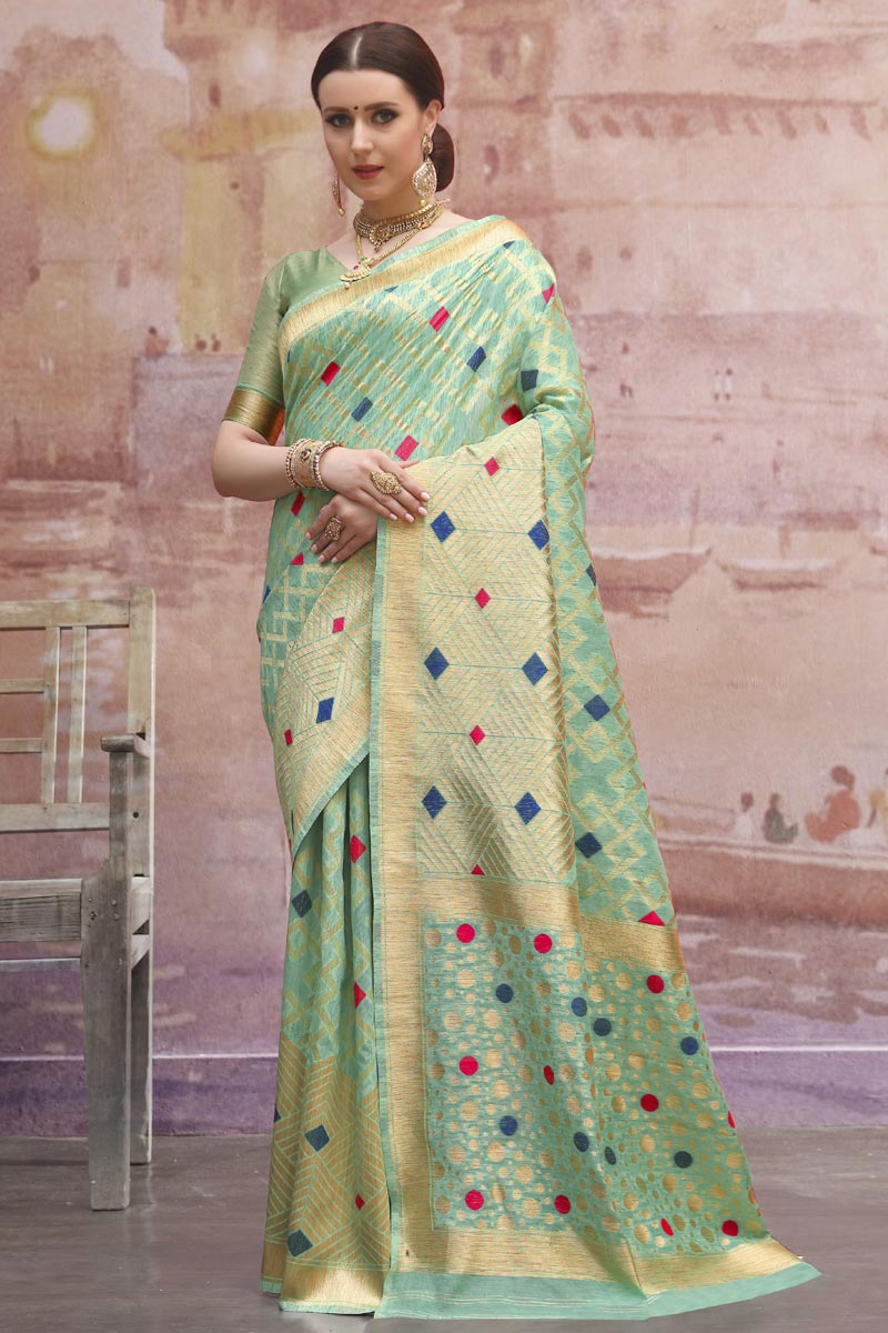 Designer Sea Green Festive Wear Cotton Fabric Weaving Work Saree