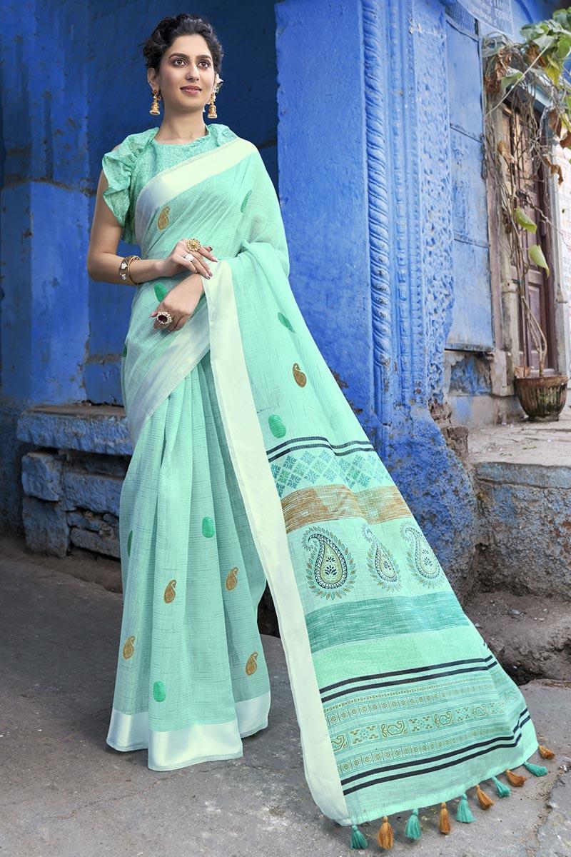 Designer Sea Green Cotton Fabric Festive Wear Printed Saree