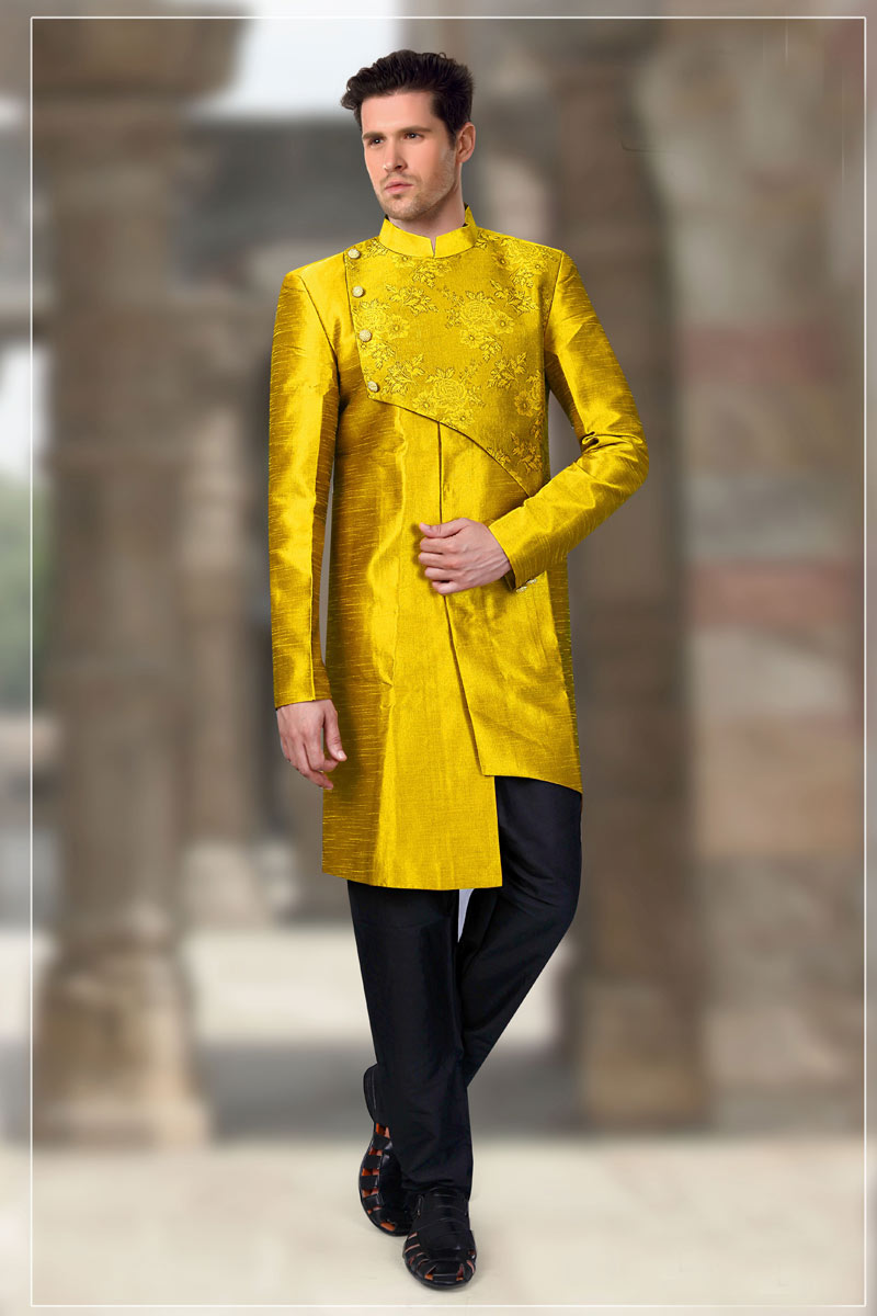 Yellow Kurta Pyjama In Art Silk For Men
