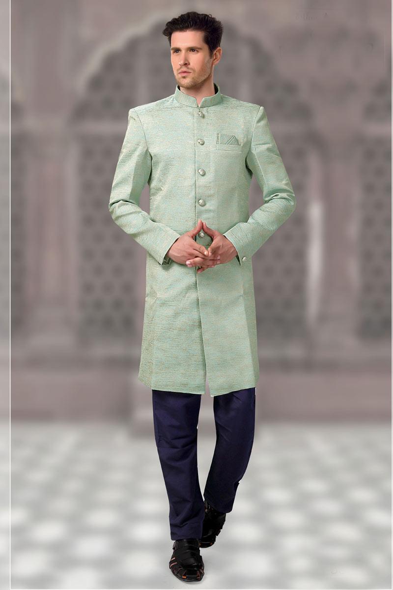 Cyan Function Wear Mens Kurta Pyjama In Fancy Jacquard Fabric