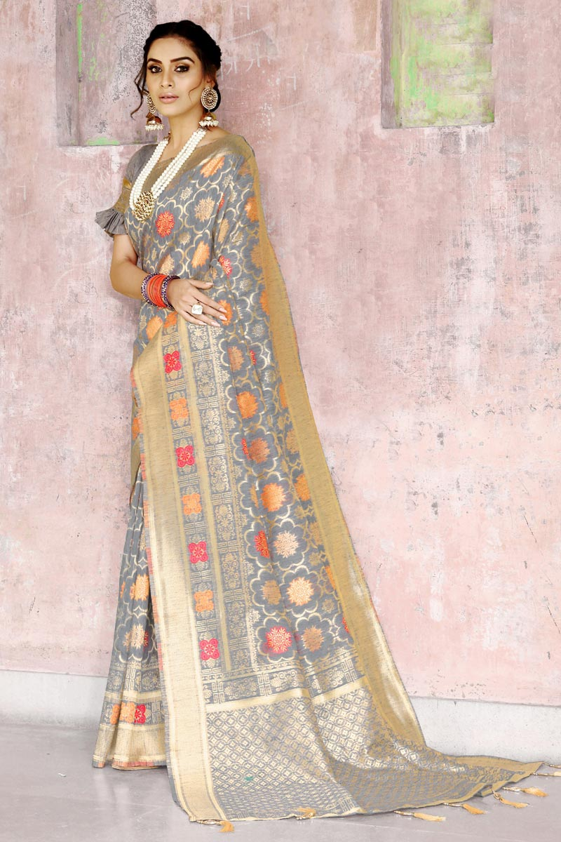 Art Silk Fancy Grey Designer Festive Wear Weaving Work Saree