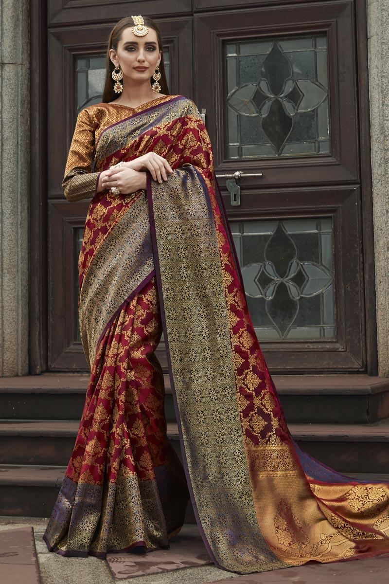 Fancy Maroon Weaving Work Art Silk Sangeet Wear Saree