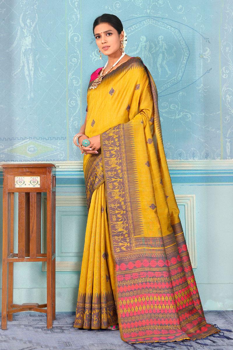 Weaving Work On Art Silk Fabric Party Wear Saree In Mustard With Ravishing Blouse