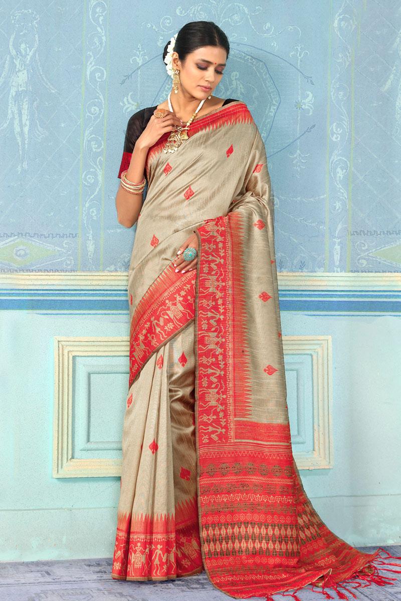 Dark Beige Festive Wear Saree In Art Silk Fabric With Weaving Work And Fantastic Blouse