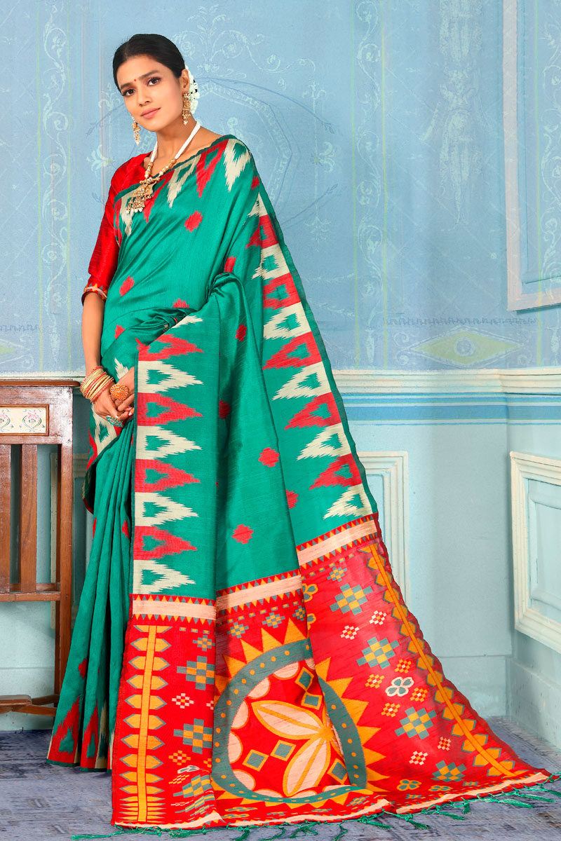 Art Silk Fabric Dark Cyan Festive Wear Saree With Weaving Work And Attractive Blouse