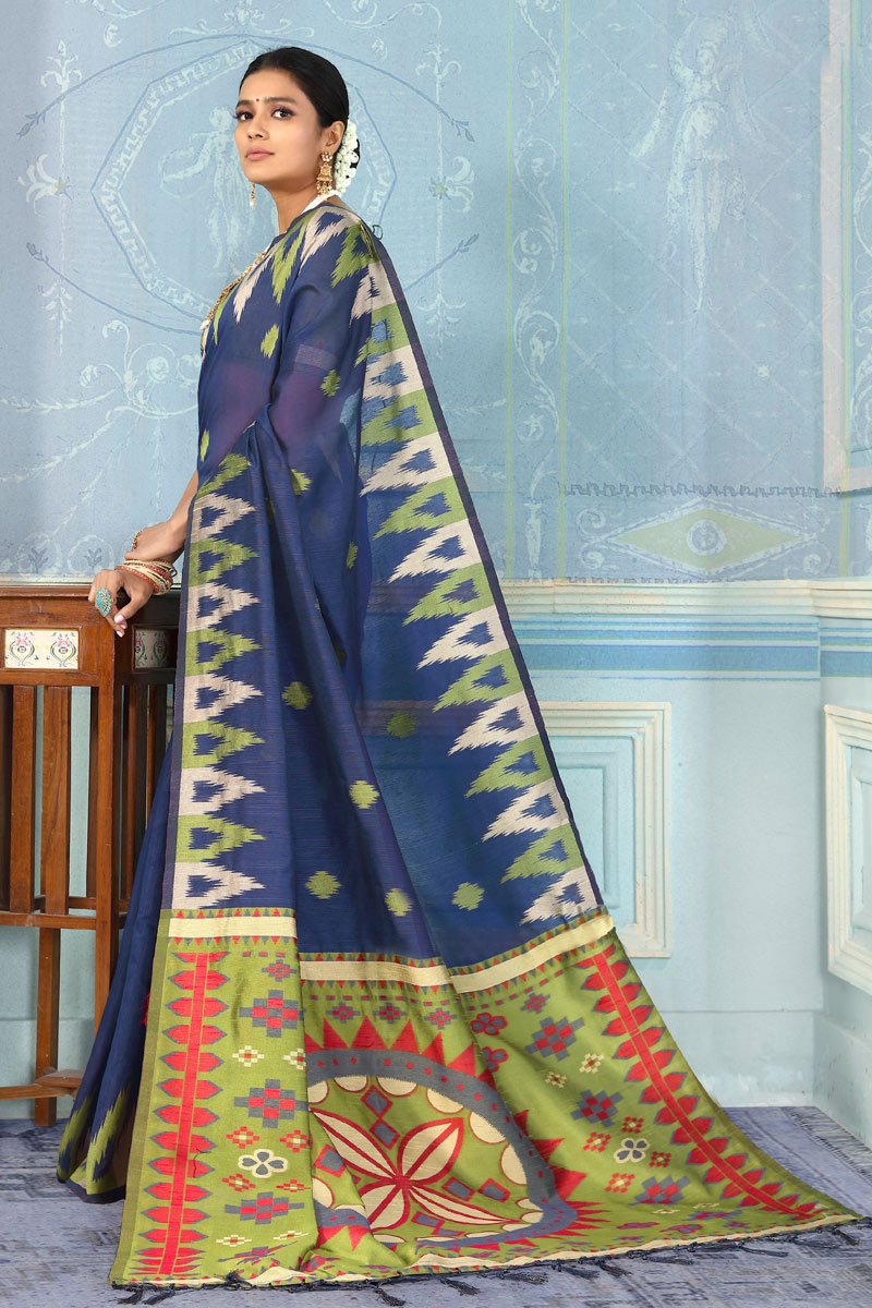 Function Wear Art Silk Fabric Saree In Navy Blue With Weaving Work And Party Wear Blouse