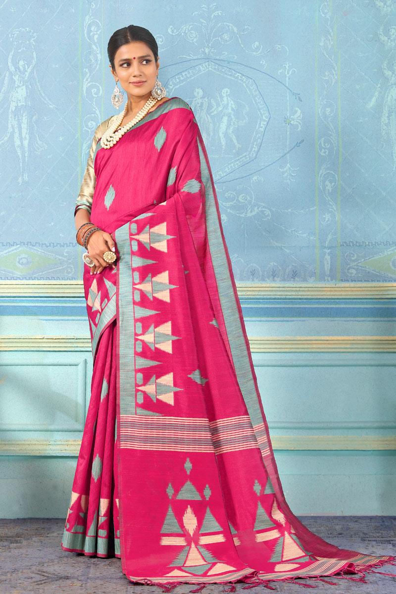 Weaving Work On Art Silk Fabric Rani Designer Saree With Alluring Blouse