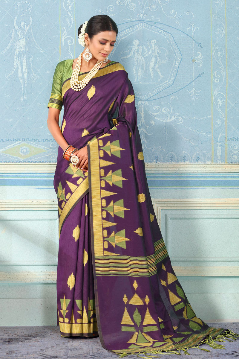 Art Silk Fabric Designer Weaving Work Saree In Purple With Attractive Blouse