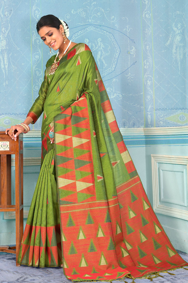 Green Party Wear Saree In Art Silk Fabric With Weaving Work And Beautiful Blouse