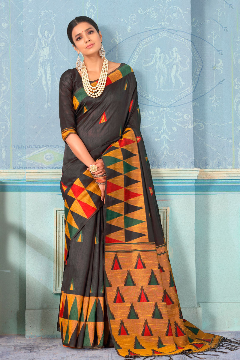 Art Silk Fabric Black Festive Wear Saree With Weaving Work And Attractive Blouse