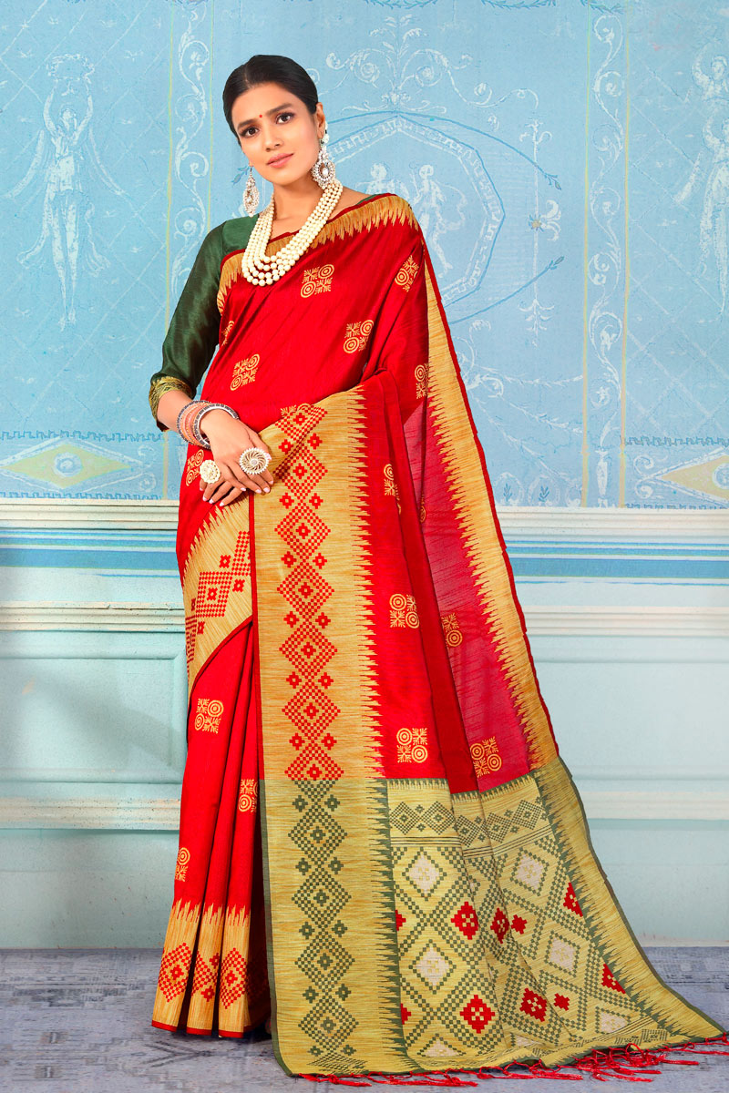 Occasion Wear Art Silk Fabric Weaving Work Saree In Red With Designer Blouse