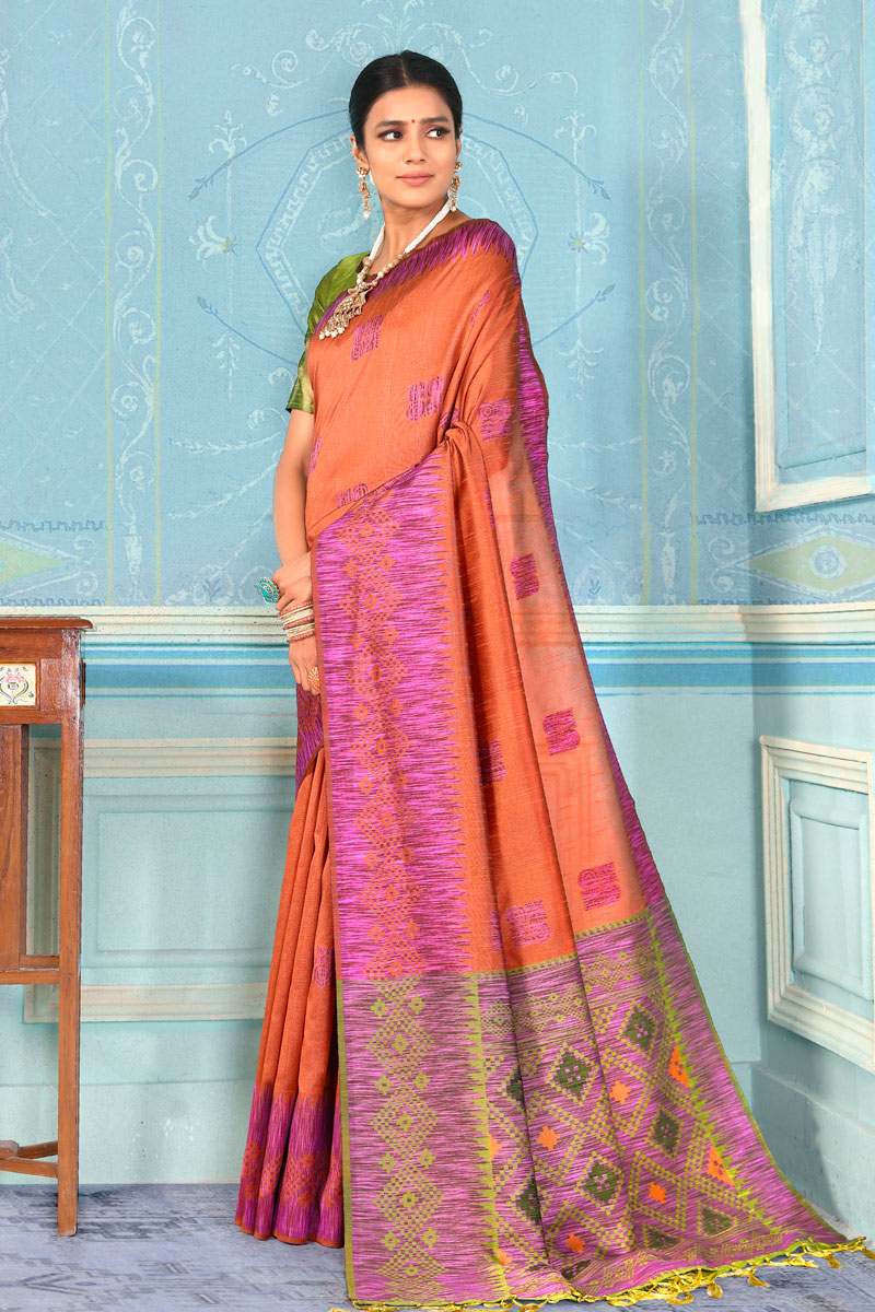 Weaving Work On Art Silk Fabric Salmon Function Wear Saree With Marvelous Blouse