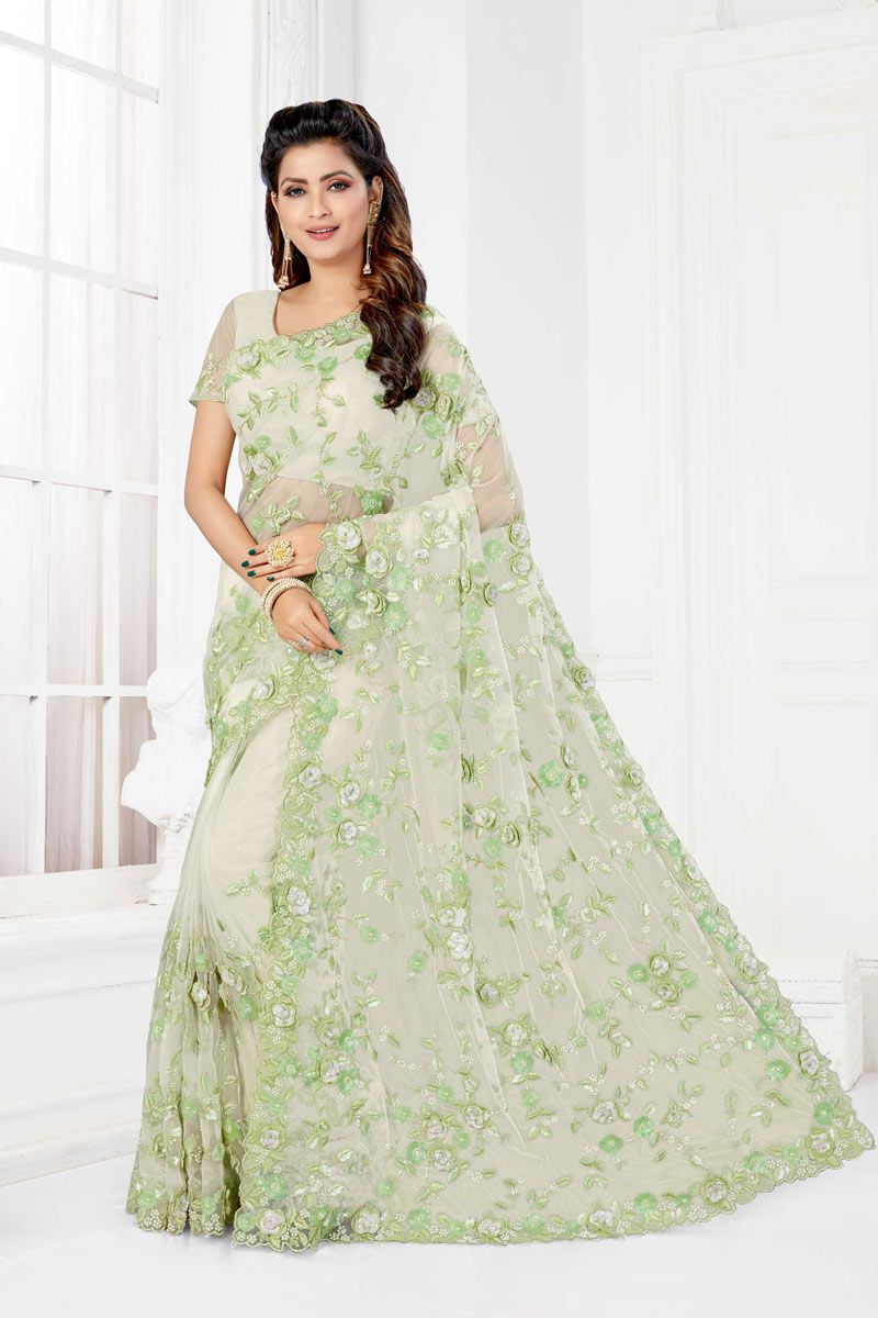 Embroidery Work On Net Off White Party Wear Saree With Designer Blouse