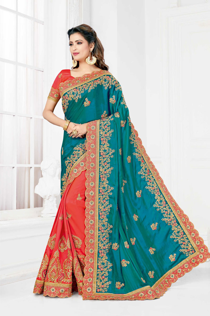 Embroidery Work On Sky Blue Art Silk Designer Saree With Party Wear Blouse