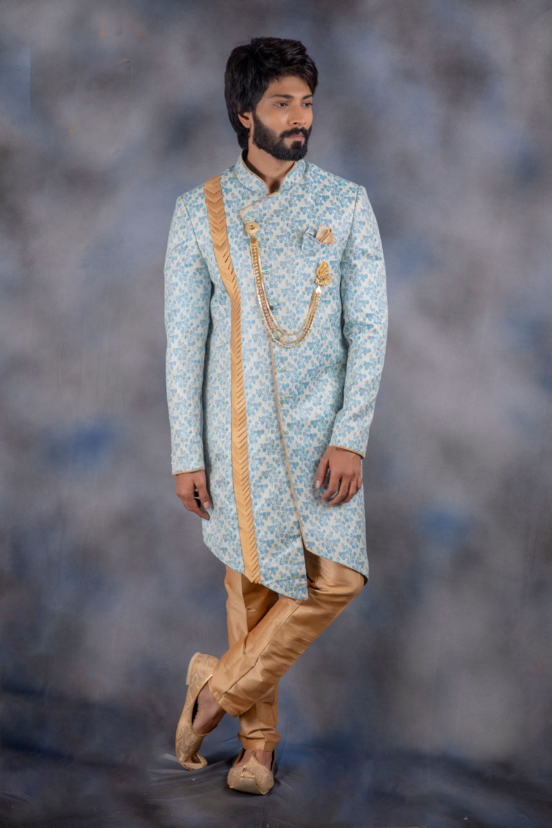 Eid Special Jacquard Fabric Mens Wear Readymade Indowestern In Sky Blue Color