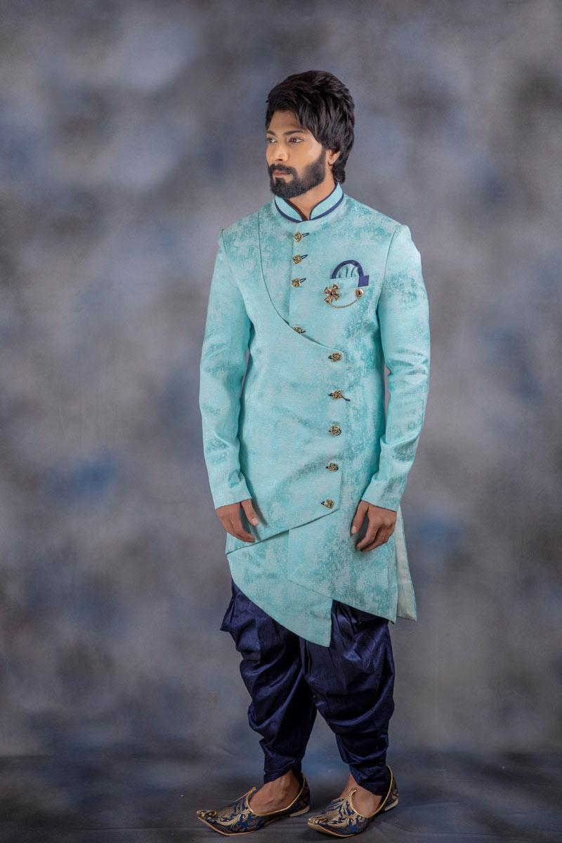Mens Festive Wear Readymade Indowestern Groom Dhoti Style Sherwani In Sky Blue Color