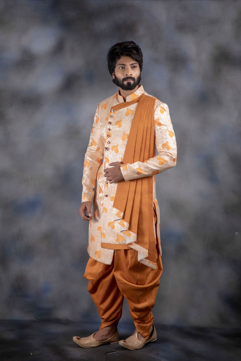 Jacquard Fabric Cream Color Function Wear Readymade Indowestern Groom Dhoti Style Sherwani For Men